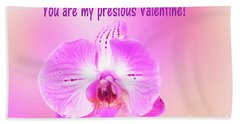 Bath Towel featuring the photograph Single Orchid Valentine by Linda Phelps