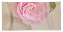 Bath Towel featuring the photograph Single Pink Camelia Flower In Clear Vase by Lyn Randle