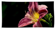 Single Pink Day Lily Bath Towel by Kenny Glotfelty