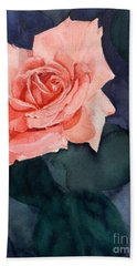 Watercolor Of A Magic Bright Single Red Rose Bath Towel
