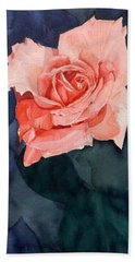 Watercolor Of A Magic Bright Single Red Rose Bath Towel