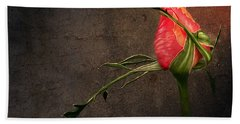 Single Rose Hand Towel by Ann Lauwers
