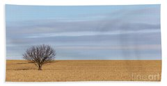 Single Tree In Large Field With Cloudy Skies Hand Towel