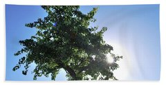 Single Tree - Sun And Blue Sky Bath Towel