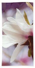 Single White Magnolia Bath Towel by Jordan Blackstone