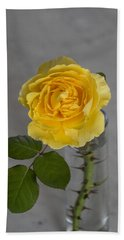 Single Yellow Rose With Thorns Bath Towel