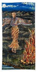 Sioux Woman Dancing Hand Towel