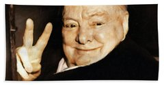 Sir Winston Churchill Victory Bath Towel