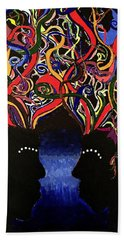 Sis The Twins - Abstract Silhouette Painting - Sisterhood - Abstract Painting  Bath Towel