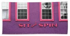 Hand Towel featuring the mixed media Sit And Spin Laundromat Purple- By Linda Woods by Linda Woods
