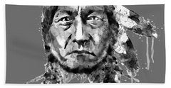 Sitting Bull Black And White Hand Towel