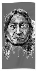 Hand Towel featuring the mixed media Sitting Bull Black And White by Marian Voicu