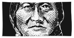 Sitting Bull Graphic - Black And White Hand Towel