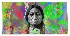 Sitting Bull In Abstract Hand Towel