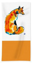Bath Towel featuring the painting Sitting Fox by Zaira Dzhaubaeva