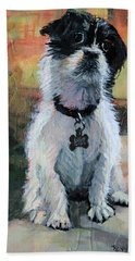 Sitting Pretty - Black And White Puppy Hand Towel