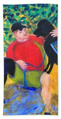 Hand Towel featuring the painting One Team Two Heroes-4 by Donald J Ryker III