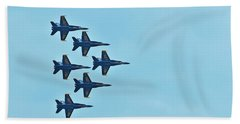 Six Blue Angels In The Clear Blue Sky Bath Towel