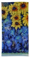 Six Sunflowers On Blue Bath Towel
