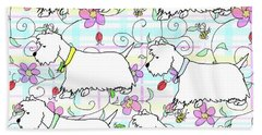 Six Westies In A Spring Plaid Hand Towel