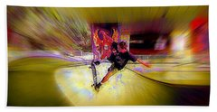 Hand Towel featuring the photograph Skateboarding by Lori Seaman