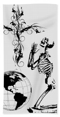 Skeleton Pryaing Cross Globe Bath Towel
