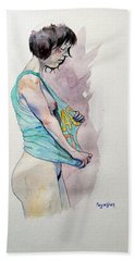 Bath Towel featuring the painting Sketch For Ac-dc by Ray Agius