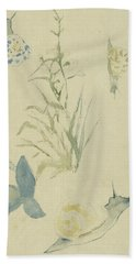 Sketches Of Snails, Flowering Plant Hand Towel
