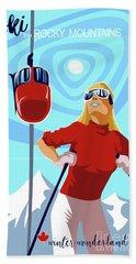 Ski Bunny Retro Ski Poster Hand Towel