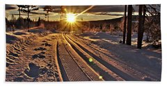 Ski Trails With Sun Beams Hand Towel