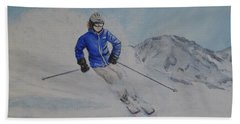 Skiing The Whistler Blackcomb In Bc Hand Towel by Kelly Mills