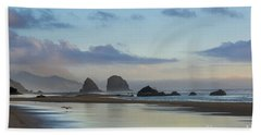 Skimming Along The Beach At Sunset Hand Towel