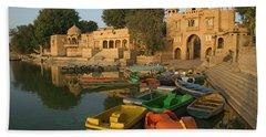 Skn 1391 A Visit To Gadisar Lake Hand Towel by Sunil Kapadia