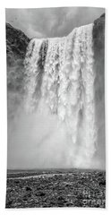 Hand Towel featuring the photograph Skogafoss Waterfall Iceland by Edward Fielding