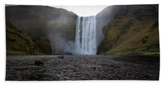 Skogafoss Waterfall In Iceland Hand Towel