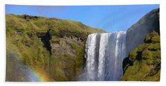 Skogafoss Waterfall With Rainbow 151 Hand Towel