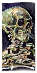 Skull Of A Skeleton With Burning Cigarette Hand Towel