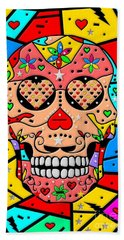 Skull Popart By Nico Bielow Bath Towel