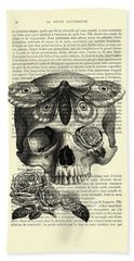 Skull With Hawkmoth Black And White Hand Towel