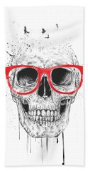 Skull With Red Glasses Hand Towel