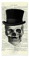 Skull With Top Hat And Moustache Bath Towel