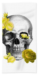 Skull Yellow Roses Bath Towel