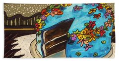 Hand Towel featuring the painting Sky Blue Cake by John Williams