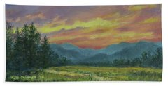 Hand Towel featuring the painting Sky Glow # 2 by Kathleen McDermott