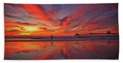 Sky On Fire At The Imperial Beach Pier Bath Towel