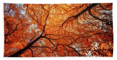 Sky Roots In Forest Red Bath Towel