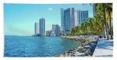 Skyline And Bayfront Park, Miami, Florida Hand Towel