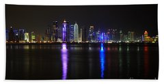 Skyline Of Doha, Qatar At Night Hand Towel