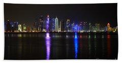 Skyline Of Doha, Qatar At Night Hand Towel