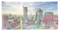 Skyline Of Warsaw Poland Bath Towel